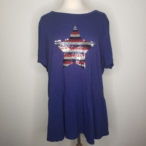 Lane Bryant Navy Blue Red Silver Sequin Tee